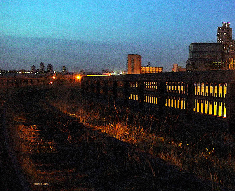 nightfall along The High Line a few years ago, with Photoshop watercolor filtering