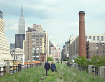 walking The High Line,                           with the Empire State Building at left